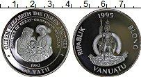 Изображение Монеты Вануату 50 вату 1995 Серебро Proof Королева мать