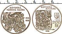 Изображение Монеты Словакия 200 крон 1998 Серебро Proof-
