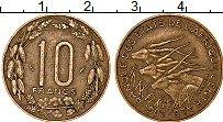Изображение Монеты Центральная Африка 10 франков 1982 Латунь XF