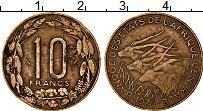 Изображение Монеты Центральная Африка 10 франков 1975 Латунь VF