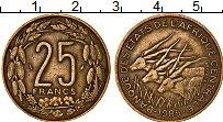 Изображение Монеты Центральная Африка 25 франков 1985 Латунь XF