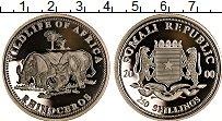 Изображение Монеты Сомали 250 шиллингов 2000 Серебро Proof Сохранение животного