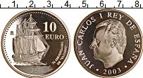 Изображение Монеты Испания 10 евро 2003 Серебро Proof Парусник