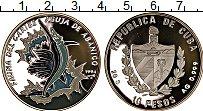 Изображение Монеты Куба 10 песо 1994 Серебро Proof Рыба-мечь