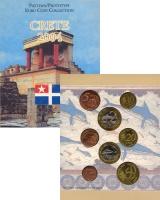 Изображение Подарочные монеты Греция Набор монет Евро-модель 2004  UNC