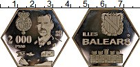 Изображение Монеты Испания 2000 песет 2018 Посеребрение Proof-