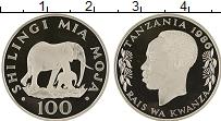 Изображение Монеты Танзания 100 шиллингов 1986 Серебро Proof- Слоны