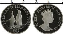Изображение Монеты Фолклендские острова 50 пенсов 1987 Серебро Proof- Елизавета II.  Пингв