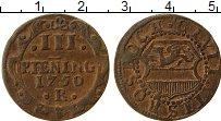 Продать Монеты Росток 3 пфеннига 1750 Медь