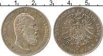 Изображение Монеты Вюртемберг 2 марки 1877 Серебро XF+ Карл