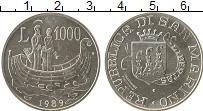 Изображение Монеты Сан-Марино 1000 лир 1989 Серебро UNC- Святые в лодке