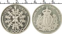 Изображение Монеты Сан-Марино 10000 лир 1999 Серебро Proof- Евросоюз