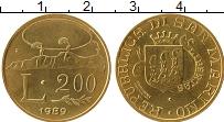 Изображение Монеты Сан-Марино 200 лир 1989 Латунь UNC-