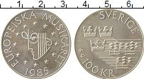 Изображение Монеты Швеция 100 крон 1985 Серебро UNC- Год  музыки  в  Евро