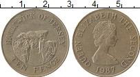 Изображение Монеты Остров Джерси 10 пенсов 1987 Медно-никель XF Елизавета II