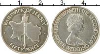 Изображение Монеты Остров Джерси 50 пенсов 1972 Серебро UNC-