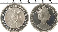 Изображение Монеты Гибралтар 1 крона 1992 Серебро Proof- Олимпийские игры, ме