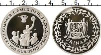Изображение Монеты Суринам 100 гульденов 1992 Серебро Proof- Олимпийские игры, ба