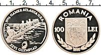 Изображение Монеты Румыния 100 лей 1996 Серебро Proof- Олимпиада 96