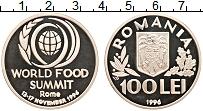 Изображение Монеты Румыния 100 лей 1996 Серебро Proof-