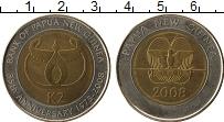 Изображение Монеты Папуа-Новая Гвинея 2 кины 2008 Биметалл XF 35 лет Банка