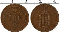 Изображение Монеты Швеция 2 эре 1890 Бронза XF- Оскар II