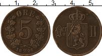 Изображение Монеты Норвегия 5 эре 1896 Бронза XF Оскар II