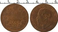 Изображение Монеты Италия 10 чентезимо 1863 Бронза VF Виктор  Эммануил II