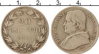 Изображение Монеты Ватикан 20 байоччи 1865 Серебро VF Пий IX