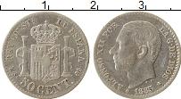Изображение Монеты Испания 50 сентим 1885 Серебро VF