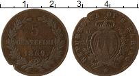 Изображение Монеты Сан-Марино 5 сентесим 1869 Бронза VF