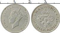 Изображение Монеты Маврикий 1/4 рупии 1951 Медно-никель VF Георг VI