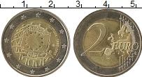 Изображение Монеты Литва 2 евро 2015 Биметалл UNC- 30  лет  флагу  ЕС