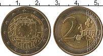 Изображение Монеты Португалия 2 евро 2015 Биметалл UNC- 30 лет флагу Евросою