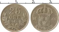 Изображение Монеты Швеция 25 эре 1941 Серебро XF-