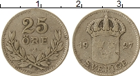 Изображение Монеты Швеция 25 эре 1927 Серебро VF