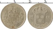 Изображение Монеты Швеция 25 эре 1914 Серебро VF