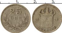Изображение Монеты Швеция 25 эре 1910 Серебро VF