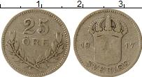 Изображение Монеты Швеция 25 эре 1917 Серебро VF