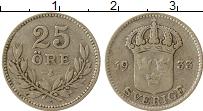 Изображение Монеты Швеция 25 эре 1933 Серебро XF-