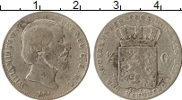 Изображение Монеты Нидерланды 1/2 гульдена 1863 Серебро VF Виллем III