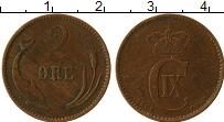 Изображение Монеты Дания 2 эре 1902 Бронза XF Кристиан IX