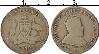 Изображение Монеты Австралия 6 пенсов 1910 Серебро VF