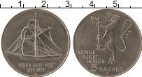 Изображение Мелочь Норвегия 5 крон 1975 Медно-никель UNC 150 лет иммиграции в