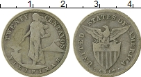 Изображение Монеты Филиппины 20 сентаво 1917 Серебро VF