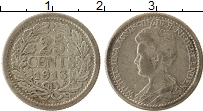 Изображение Монеты Нидерланды 25 центов 1913 Серебро XF- Вильгельмина