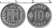 Изображение Монеты Исландия 10 аурар 1974 Алюминий UNC-