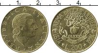 Изображение Монеты Италия 200 лир 1994 Латунь UNC- 180 лет Корпусу кара