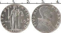 Изображение Монеты Ватикан 5 лир 1958 Алюминий UNC- Пий XII