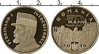 Изображение Мелочь Румыния 50 бани 2019 Медно-никель Proof Фердинанд I